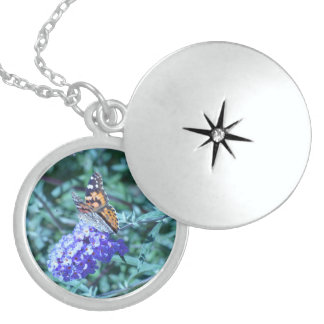 Colar De Prata Esterlina Locket da prata esterlina de borboleta de monarca