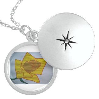Colar De Prata Esterlina Locket redondo médio amarelo da prata esterlina