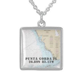 Colar De Prata Esterlina Longitude da latitude da cidade de Punta Gorda FL