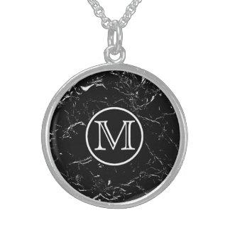 Colar De Prata Esterlina Monograma de mármore preto