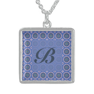 Colar De Prata Esterlina Monograma floral azul bonito do teste padrão