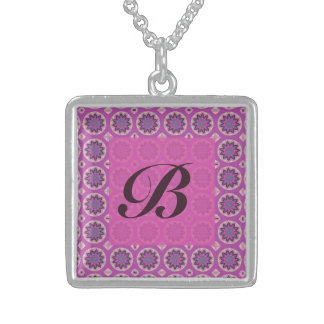 Colar De Prata Esterlina Monograma floral cor-de-rosa bonito do teste