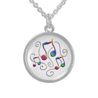 Colar De Prata Esterlina Notas da música e redemoinhos coloridos do