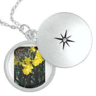 Colar De Prata Esterlina O Daffodil amarelo Neclace