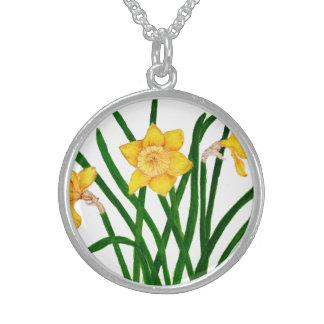 Colar De Prata Esterlina O Daffodil floresce trabalhos de arte da pintura