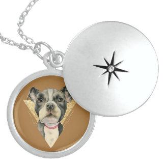 """Colar De Prata Esterlina O """"filhote de cachorro Eyes"""" a aguarela do cão do"""