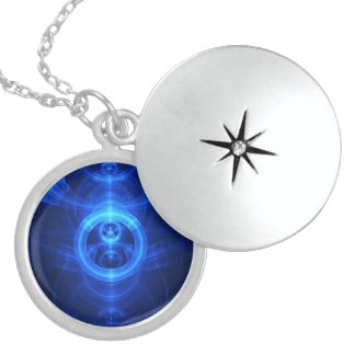 Colar De Prata Esterlina O símbolo da finalidade, círculos de vidro azuis