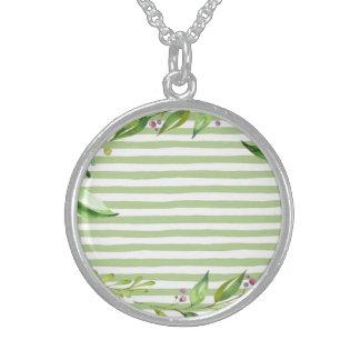 Colar De Prata Esterlina O verde corajoso da arte da aguarela listra o