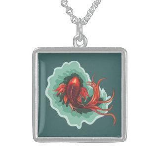 Colar De Prata Esterlina Peixes vermelhos de Koi da borboleta
