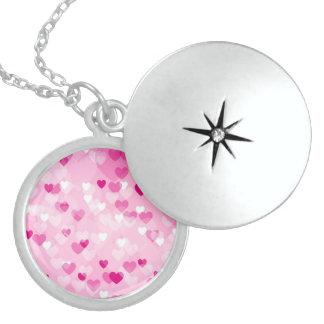 Colar De Prata Esterlina Por todo o lado nos corações, cor-de-rosa