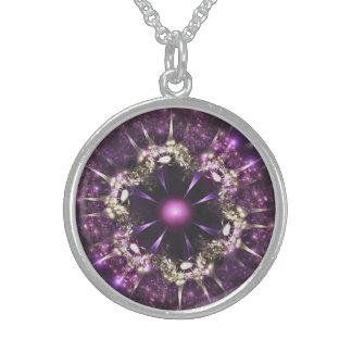 Colar De Prata Esterlina Purple Flower