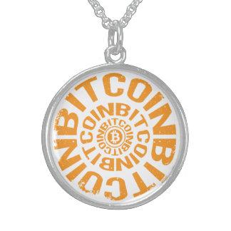 Colar De Prata Esterlina Rolamento Bitcoin - laranja