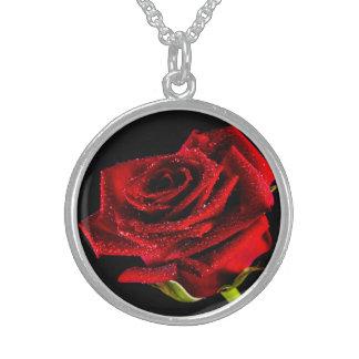 Colar De Prata Esterlina Rosa vermelha bonita