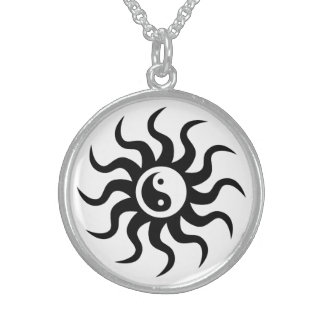 Colar De Prata Esterlina Símbolo de Yin-Yang/preto e branco astecas