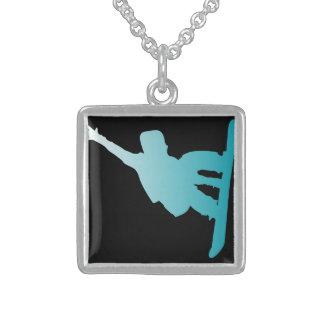 Colar De Prata Esterlina snowboarder do azul do inclinação