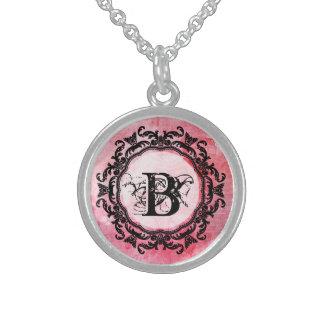 Colar De Prata Esterlina Teste padrão chique cor-de-rosa velho cor-de-rosa