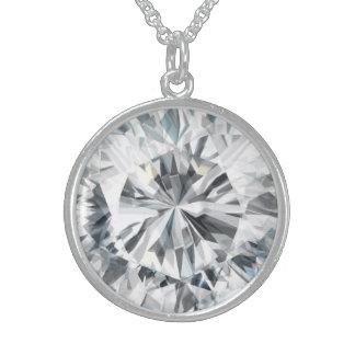 Colar De Prata Esterlina Textura Sparkling abril Birthstone do diamante