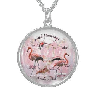 Colar De Prata Esterlina Tipografia cor-de-rosa | do flamingo personalizado