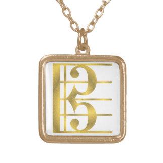 Colar do pendente do símbolo de música do clef de