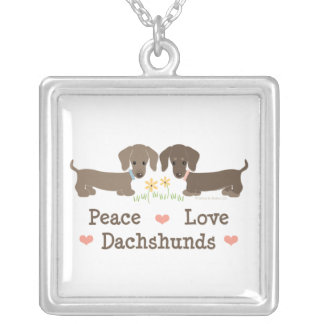 Colar dos Dachshunds do amor da paz
