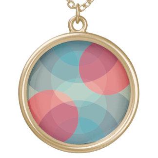 Colar goldtone do pendente do círculo geométrico