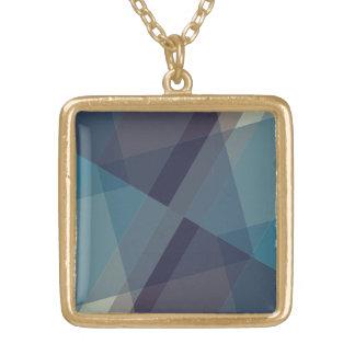 Colar goldtone do pendente dos blocos geométricos