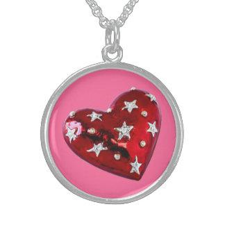 Colar Jeweled da prata esterlina do coração dos