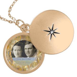 Colar Medalhão 50th Lembrança dourada do quadro | da foto do