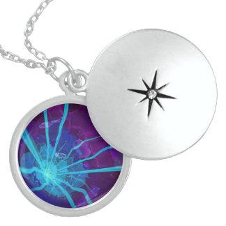 Colar Medalhão Anêmona de mar Bioluminescent bonita FractalFlower