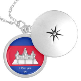 Colar Medalhão Bandeira de Cambodia