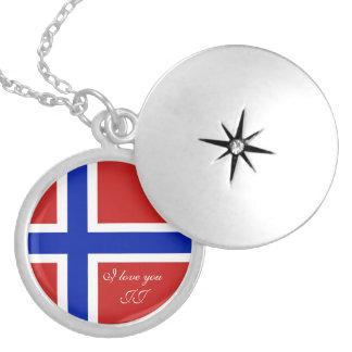 Colar Medalhão Bandeira do escandinavo de Noruega