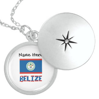 Colar Medalhão Bandeira e Belize belizences com nome