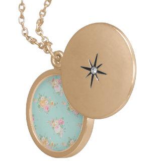 Colar Medalhão bonito, hortelã, chique, chique do país, floral,