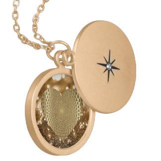 Colar Medalhão Brilho prismático dourado do falso de Bokeh do