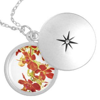 Colar Medalhão Cascata de orquídeas alaranjadas