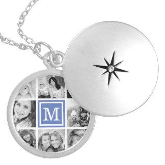 Colar Medalhão Colagem azul da foto do monograma