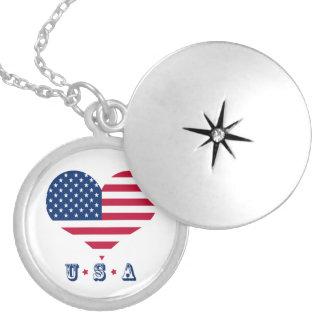 Colar Medalhão Coração americano dos EUA da bandeira de América