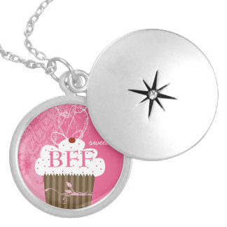 Colar Medalhão Doce para sempre BFF do cupcake dos melhores