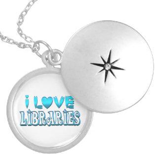Colar Medalhão Eu amo bibliotecas