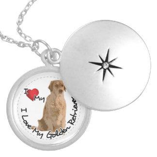 Colar Medalhão Eu amo meu cão do golden retriever