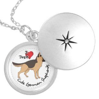 Colar Medalhão Eu amo meu german shepherd adorável & bonito feliz