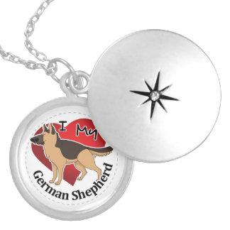 Colar Medalhão Eu amo meu german shepherd engraçado & bonito