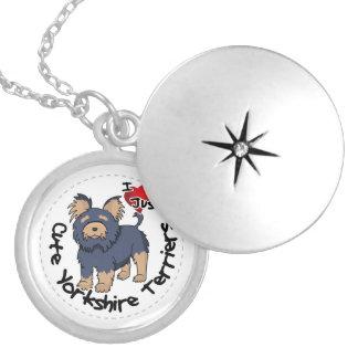 Colar Medalhão Eu amo meu yorkshire terrier engraçado & bonito