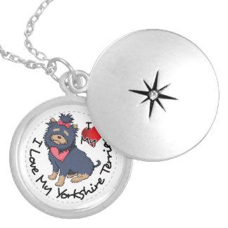 Colar Medalhão Eu-Amor-Meu-Yorkshire-Terrier