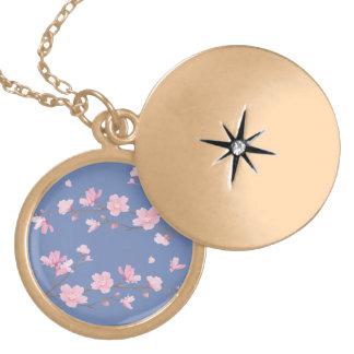 Colar Medalhão Flor de cerejeira - Transparente-Fundo