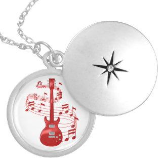 Colar Medalhão Guitarra elétrica vermelha com notas da música