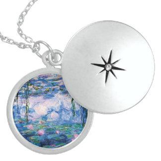 Colar Medalhão Lírios de água de Monet