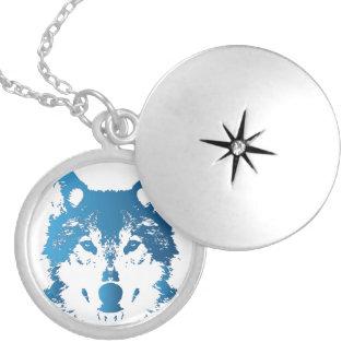 Colar Medalhão Lobo do azul de gelo da ilustração