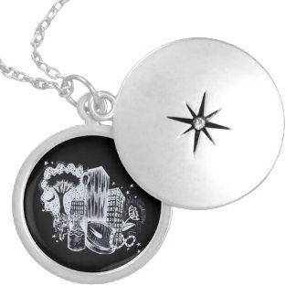 Colar Medalhão Locket abstrato da luz das estrelas