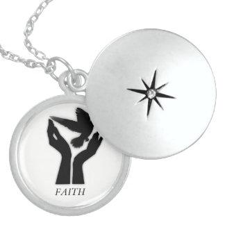 Colar Medalhão Locket/colar da fé da prata esterlina